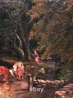FINE ORIGINAL ANTIQUE 19th CENTURY BRITISH OLD MASTER OIL PAINTING river Scene