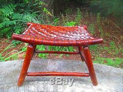 FOOT STOOL 1920's 30's ADIRONDACK signed OLD HICKORY genuine PATINA original
