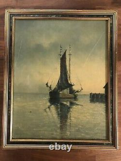 FREDRICK IMMER PENTWATER MICHIGAN OIL PAINTING Antique Old Original Listed