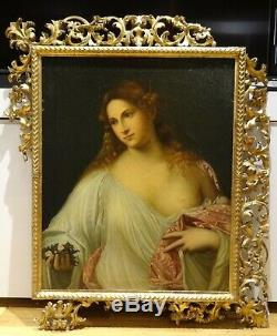 Fine Large 18th Century Italian Schoo Old Master Flora Lady Portrait TITIAN