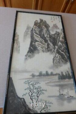 Fine Old Antique Chinese Hand Painting 13x25 Artist Signed On Paper Peak