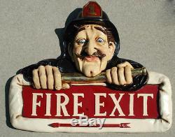 Fire Exit Sign Old Man Fireman w Hat Arrow Vintage Antique Style Store Shop Bar