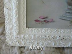 GORGEOUS Christie Repasy Canvas Print PINK CRANBERRY ROSES OLD Gesso WHITE FRAME