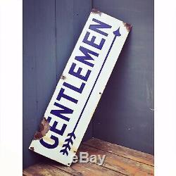 Gentleman Enamel Sign Br Railway Original Old Rare Advertising Antique Vintage