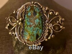 Gorgeous Antique Old Pawn Signed Turquoise/Sterling Silver Cuff Bracelet