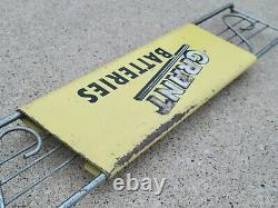 Grant Batteries Advertising Door Push Sign VTG gas Service Station old antique