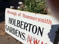 HOLBERTON GARDENS LONDON ANTIQUE ENAMEL STREET ROAD SIGN PROP OLD c 1917 GENUINE