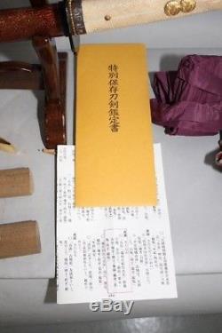 (HX-28) Old TACHI SADANAGA sign with New NBTHK TOKUBETU HOZON Judgment paper