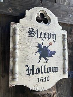 Halloween Sleepy Hollow Colonial Rustic Gothic Sign Painting Old Antique Look