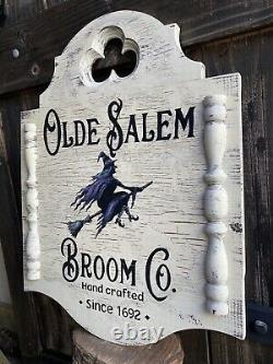 Halloween Witch Olde Salem Colonial Rustic Gothic Sign Painting Old Antique Look