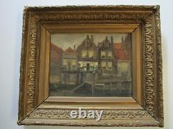 Hanau Antique 19th Century Old Oil Painting Amsterdam Landscape Impressionist