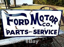 Hand Painted Antique Vintage Old Style FORD MOTOR CO Parts Service 18x36 Sign