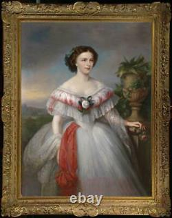 Hand Painted Old Master-Art Antique Oil Painting Portrait noblewoman on canvas