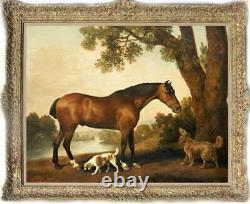 Hand-painted Old Master-Art Antique Animal Oil Painting horse Dog on canvas
