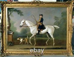 Hand painted Old Master-Art Antique Oil Painting aga horse dog on canvas 30x40