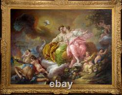 Hand-painted Old Master-Art Antique Oil Painting angel nude girl on canvas
