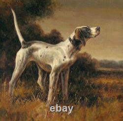Hand painted Old Master-Art Antique Oil Painting animal Hunting dog on canvas