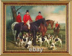 Hand-painted Old Master-Art Antique Oil Painting hunt horse dog on canvas 36X48