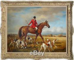 Hand-painted Old Master-Art Antique Oil Painting hunt horse on canvas 30X40