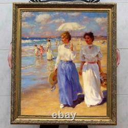 Hand painted Old Master-Art Antique Oil Painting noblewoman seaside on canvas