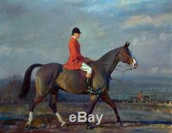 Hand painted Old Master-Art Portrait Antique Oil Painting aga horse on canvas