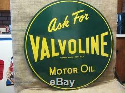 Huge Vintage 1952 Double Sided Valvoline Motor Oil Sign Antique Old Gas 9337
