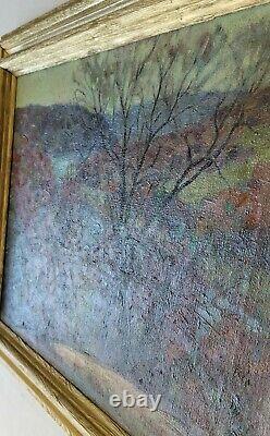 J William Hallquist Antique Illinois 1920's Old Landscape American Oil Painting