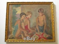 Jane Thurston Painting Antique Vintage Exhibited Bathing Suit Old Fashion