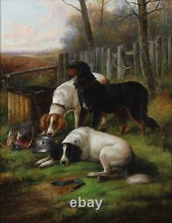 John Morris Large Fine Antique Old Master Oil Painting Pair Hunting Sport Dogs