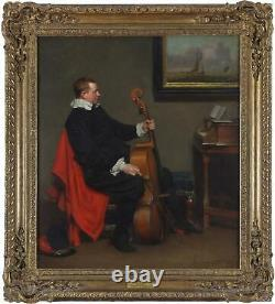 John Seymour Lucas Antique Old Master Oil Painting Interior Musician Signed