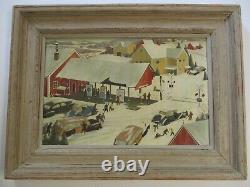 John Wheat Painting Wpa Era Antique American Americana Regionalism City Xmas Old