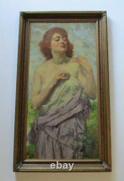 Karl Witholm Painting Risque Masterpiece Gorgeous Art Nouveau Deco Antique Old