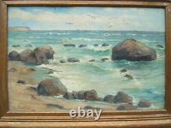 Karl k. Von pollnitz seascape oil painting on board 1930 antique vtg old