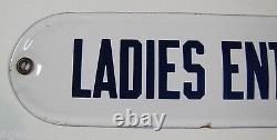 LADIES ENTRANCE Old Porcelain Sign Blue White Rare Saloon Segregation Pub Bar Ad