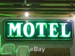LARGE Vintage 1940's 1950's NEON MOTEL Sign PORCELAIN AnTiQue Old Hotel Inn