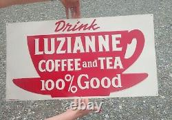 LUZIANNE Coffee and Tea Sign, Old Antique Original Advertising Embossed Metal