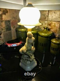 Lamp light Alabaster marble female figural statue rare antique large old signed