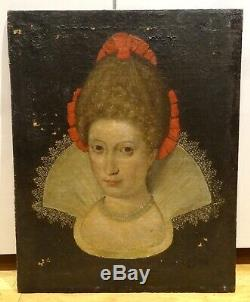 Large 16th Century English Old Master Court Portrait Lady Antique Oil Painting