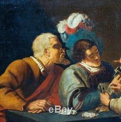 Large 17th Century Dutch Old Master Game Of Cards Antique Oil Painting