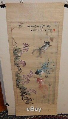 Large Old Chinese Original Watercolor Koi Fish Painting Signed