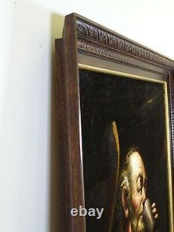 Large Vintage Black Velvet Painting Old Asian Man Manila Filipino 33 x 42