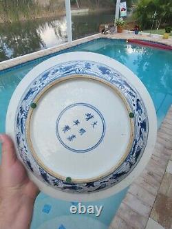 Large old Vintage Asian Antique Chinese blue & white fish Porcelain bowl signed
