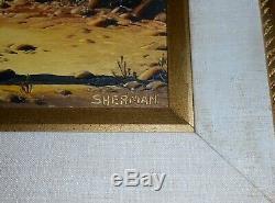Leo Z. Sherman Vintage Arizona Desert Oil Painting Old Man Of The Desert