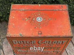 Lg Antique Tin Dutch Colony Toledo Ohio COFFEE Co Box Trunk Chest Old Red Paint