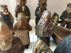 Lot (17) Vintage Hand Carved Wood Figures Swedish Swiss Old Man Lady Some Signed