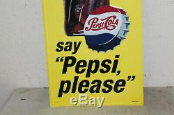 Lot of 2 Pepsi Cola Bottle Signs Vintage Style Embossed Large 48 x 18 Store