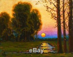 MAX COLE original oil painting landscape signed old vintage antique canvas Sun