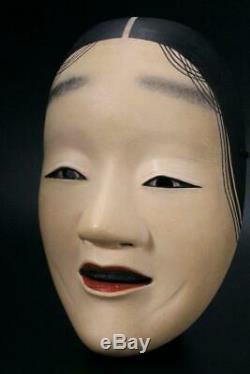 MSK72 Japanese old wooden shakumi (Female) Noh Mask signed #Fukai Okame koomote