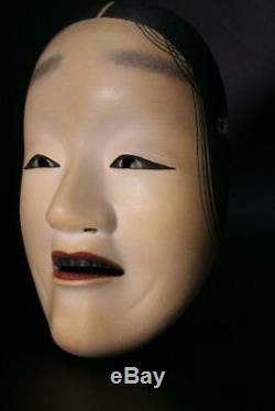 MSK78 Japanese old wooden shakumi (Female) Noh Mask signed #Fukai Okame koomote