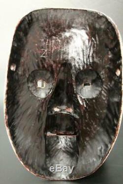 MSK82 Japanese old wooden Juroku Chujo Noh mask signed # kyogen kagura